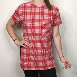 Zara Plaid Checkered Split Hem Tunic T-Shirt Top
